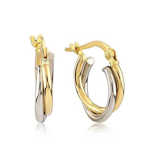 Damen Ohrringe 14 Karat - 585 Echtgold, Creolen, Ohrstecker mit zwei verschlungenen Kreisen - Gelbgold, Außendurchmesser 13 mm, Gewicht 1.30 gr Geschenk für Valentinstag Geburstag