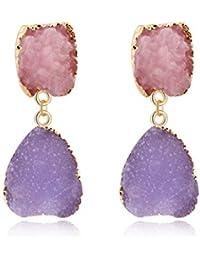 50bd33584015 Junlinto Colorido Druzy Piedra Pendientes de Gota de Cuarzo Natural Geoda  Cristal Joyería de Moda 1