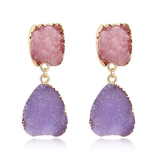 Haptian Ohrring, Bunter Druzy Stein Tropfen Ohrringe Natürlicher Quarz Geode Kristall Modeschmuck 1# (Ohrringe Titan Druzy)