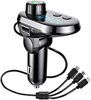 EqiEch Bluetooth FM Transmitter for Car, Bluetooth 5.0 Radio Adapter QC3.0 Fast Car Charger Adapter Kit, Car M