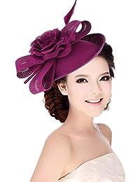 GEMVIE Tocados Flores de Pelo Mujer Vintage Sombrero con Plumas Fiesta Boda Morado