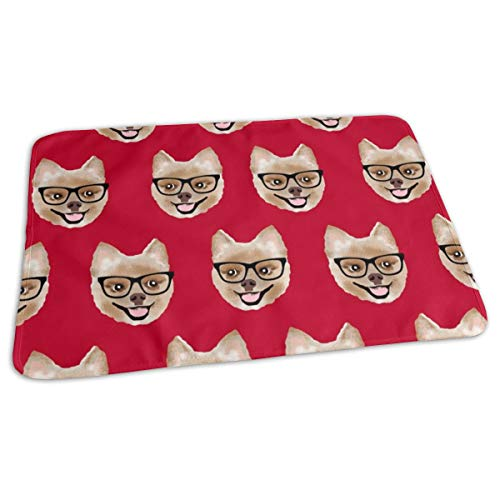 Pomeranian Dog Pom With Glasses - Shorthaired Dog - Red Baby Portable Reusable Changing Pad Mat 19.7x27.5 inches Crystal Pom Poms