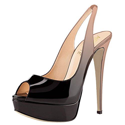 MERUMOTE Damen Slingbacks Peep Toe High Heels Schuhe Plateau Sandalen Farbverlauf Nude & Schwarz 47EU