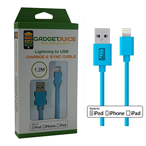 Gadget Juice cavo di ricarica e cavo dati 8pin a USB, certificato Apple, per iPhone 6Plus/6/5S/5C/5, iPad Air 2/iPad Air/Mini 3/Mini 2/Mini/4, iPod touch 5e iPod nano 7generazione blu