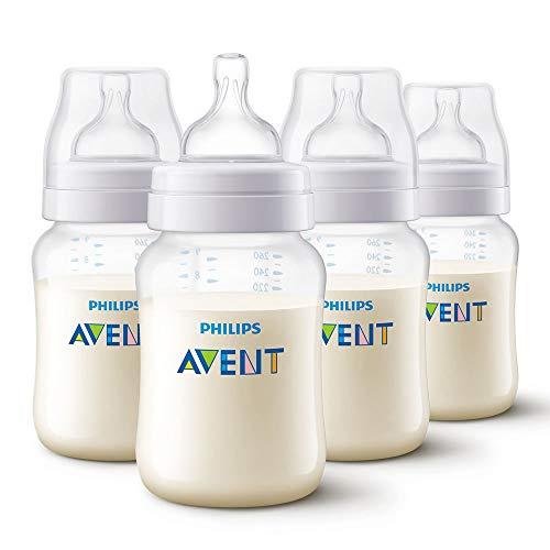 Philips Avent Klassik+ SCF563/47 - Anti-Kolik Babyflaschen 260ml/9oz (4 Stück - Weiß) - Babyflaschen Kolik Anti