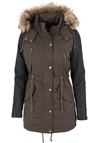 urban-classics-tb1091-ladies-leather-imitation-sleeve-parka-donna-color-olv-blk-size-xs