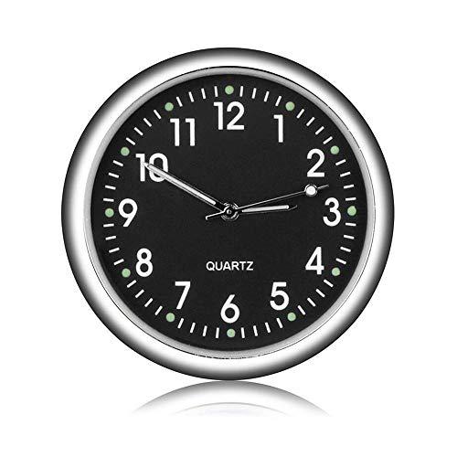 , 1,5 Zoll Durchmesser Fluoreszierende Auto Uhr Stick auf für Auto Boot Fahrrad nach Hause, kleine runde Auto Uhr mit schwarz blau weiß Gold Farben wählbar ()