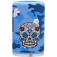 PROF Day Of The Dead Blue Jet Power Lighter Skull Design Gas Refillable High Capacity Electronic New