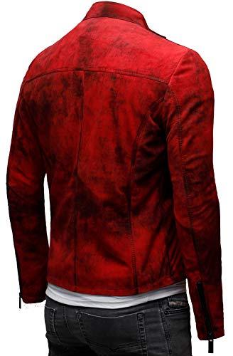 CRONE Epic Herren Lederjacke Cleane in Vintage Rot aus weichem Schafs-Leder (Wildleder) - 5