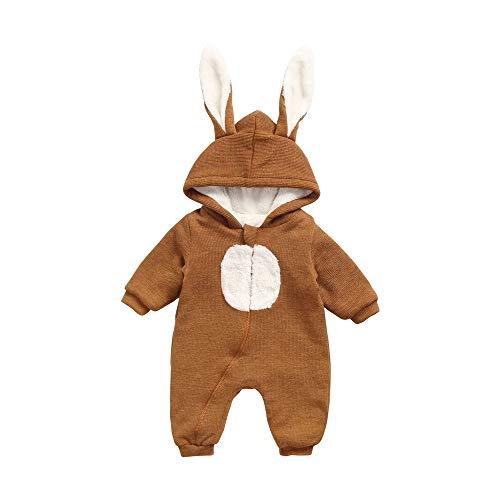 Sanlutoz coniglietto cappotto cappuccio inverno bambino body addensare carina bambino pagliaccetto (6-12 mesi / 73 cm, brw8179-bn)