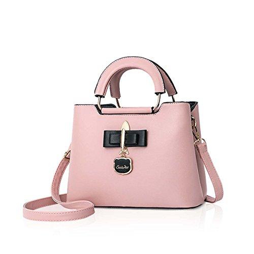 NICOLE&DORIS 2018 PU Handtasche für Frauen Casual Einkaufstasche Schultertasche Hardware Anhänger Mädchen Umhängetasche (Rosa)
