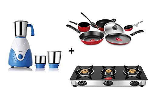 Pigeon Grand 7 pcs Cookware Set+Amaze Mixer Grinder+3 Burner Favorite Manual Gas Stove