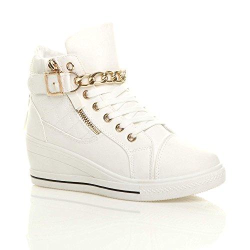 Donna medio cuneo piattaforma catena stivaletti scarpe ginnastica alte taglia Bianco