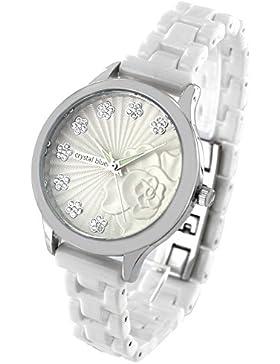 Crystal blue Damen-Armbanduhr 48 funkelnde Steine Designer 3D Zifferblatt Flower Blumen Keramik Armband Analog...