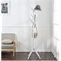 White Bamboo Wooden Modern Floor Standing Hall Hat And Coat Stand Rack Hooks Hanger by Best Value Here