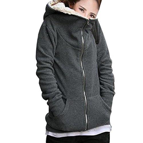 ZEARO Damen Hoodie Kapuzenpullover Pullover Jacke Sweatjacke Sweater Sweatshirt mit Kapuze Sherpa Fleece gefüttert warm (Sherpa-gefüttert-jeans)