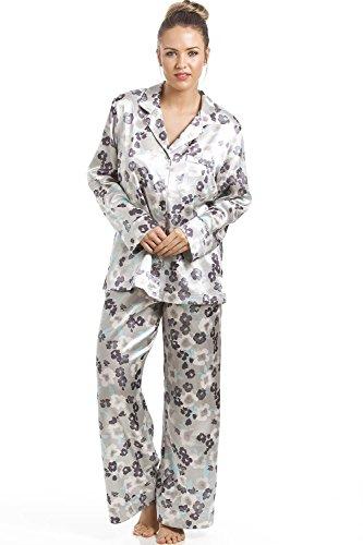 Camille - Damen Pyjama aus Satin - mit Blumenmuster - Grau 46 (Floral Pyjama Satin)