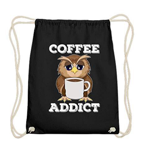 double critical Lustiges süße Eule Kaffee Owl Coffee Addict Gamer Nerd Geek Zocker Spieler Geschenk - Baumwoll Gymsac - Addict-schwarz-t-shirt