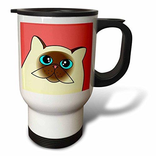 hiekon le Curious chat de l'Himalaya avec yeux bleu rose tasse de voyage, 14-Ounce