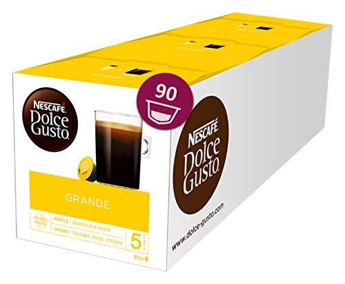 Nescafé Dolce Gusto Caffe Crema Grande, XXL-Vorratsbox, 90 Kaffeekapseln, 100% Arabica Bohnen, feinste Crema und kräftiges Aroma, Blitzschnelle Zubereitung, 3er Pack (3 x 30 Kapseln) (Kaffee Normaler K-tassen)