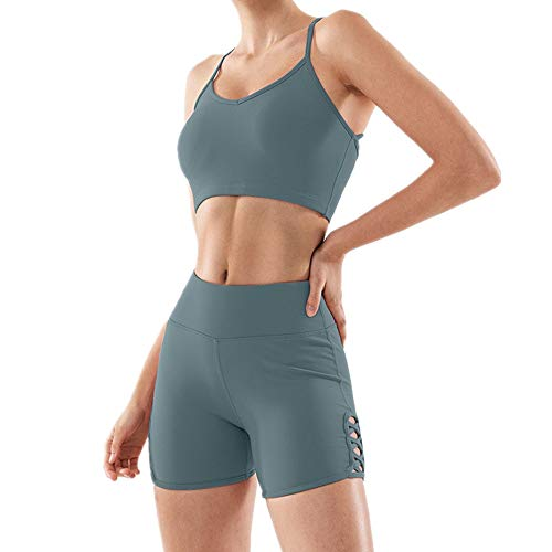 MKLVWU Frauen Fitness schnell trocknende atmungsaktive Yogahosen, High Waist Hip-Raising Shorts, Pfirsich hip Persönlichkeit Ribbon Sports Shorts Grün M Ribbon Jeans Hose