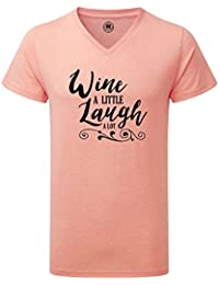 Just Another Tee Wine A Little Laugh A Lot Statement Men's V Neck Shirt