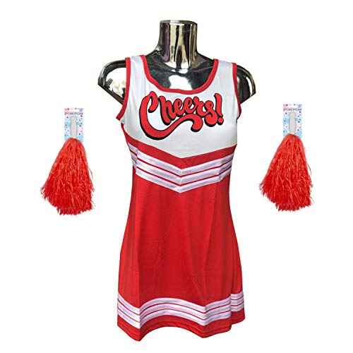 Crazy Chic Cheerleader-Kostüm, Uniform, High School Musical Kostüm mit Bommeln, Rot Cheerleader Gr. 90, rot