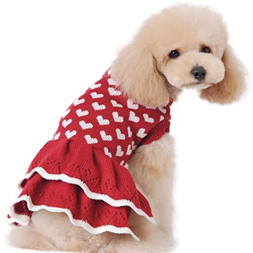 Stock Show Warmer Pullover, für kleine Hunde und Katzen, mit Herz-Motiv, Rot, XL Back-17.7inch, rot -