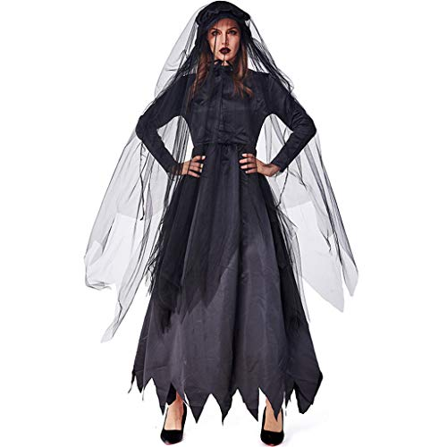 Niedliche Kostüm Zombie - LLCOFFGA Halloween Cosplay Kostüm Ghost Night Party Parade Black Zombie Ghost Braut Kleid Friedhof Soul Bühnenauftritt,L