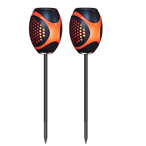 Lebandwit Solarleuchten Solar Laterne mit USB Tragbare Solar Flammen Fackeln LED Gartenleuchte mit IP65 Wasserdichtes für Tischplatte, hängend, Haltegriff und Erdspieß (Schwarz)
