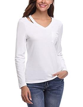 [Patrocinado]Abollia Camisa Para Mujer, Blusa Elegante, Camiseta e T Shirt Casual con Manga Larga, Pullover con Cut-Out