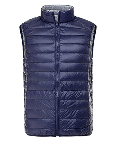 Smoon Herren Daunenweste Packbare Leichte Outdoor Weste Winter Ärmellose Daunenjacke Steppweste Marineblau Grau XL
