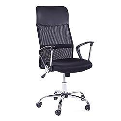 MACOShopde by MACO Möbel Bürostuhl Drehstuhl Schreibtischstuhl Stuhl Fuß Chrom Netzstoff ergonomischer Chefsessel universal einsetzbar schwarz