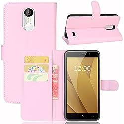 Guran® Housse en Cuir PU pour Acer Liquid Zest plus Smartphone Flip Cover Étui Portefeuille et Fonction Stent Cas-rose