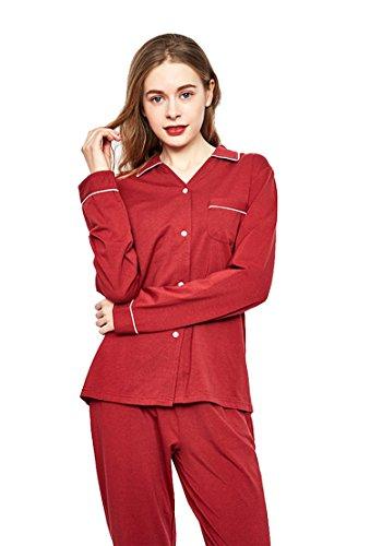 QianXiu Donne Set da pigiama Confortevole indumenti da notte loungewear Pigiama a maniche lunghe cotone biancheria da notte Red