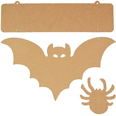 Country Love Crafts Bat and Spider Sign Wooden Craft Blank, Light Brown