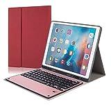 AmaSells Für iPad Pro12.9 2017 Separierbares Ledertasche + Abnehmbare Drahtlose Bluetooth-Tastatur Aluminiumlegierung mit Stiftschlitz (Rot)