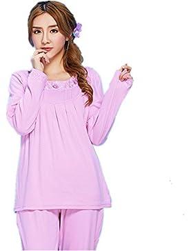 DMMSS Set di pigiama Ladies girocollo in cotone manica lunga , m