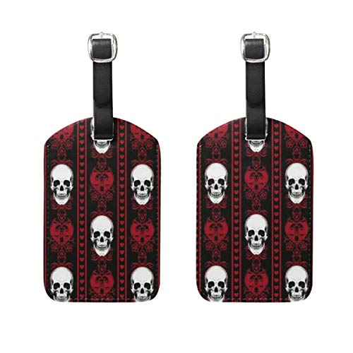 Luggage Tags 1 Pack Customized Baroque Skull Stripe Travel ID Identifier Luggage Name Tags for Women Men Girls Boys -