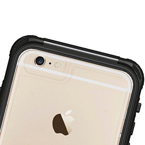 Phone case & Hülle Für IPhone 6 / 6S, ABS Material wasserdichter Schutzhülle mit Knopf u. Fingerabdruck Unlock & Touch Screen Funktion ( Color : Yellow ) Black