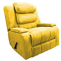 Classic Recliner Rocking Chair With Storage Container and Moveable Back Cushions - Yellow