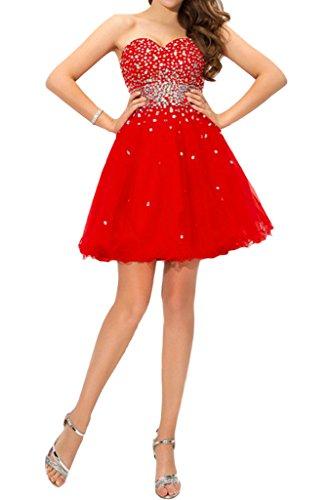Missdressy Damen Satin Tuell Kurz Steine Herzform Traegerlos Mini Abiball  Abschlussball Partykleid Cocktailkleid Rot