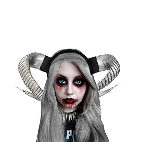 Übergröße Für Erwachsenen Kostüm Zombie - Halloween Hexe Kopfschmuck Damen Karneval Party Maskerade Ball Prom Gothic Ziegenhorn Stirnband Stirnbänder Festliche Cosplay Kostüm Haarschmuck Schwarz Evil Queen Cosplay Stirnbänder