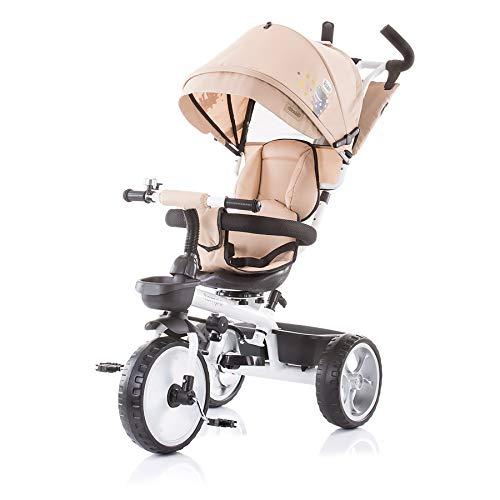 Chipolino Tricycle Tempo Dreirad 4in1 Sitz drehbar, Schubstange höhenverstellbar, Farben:beige