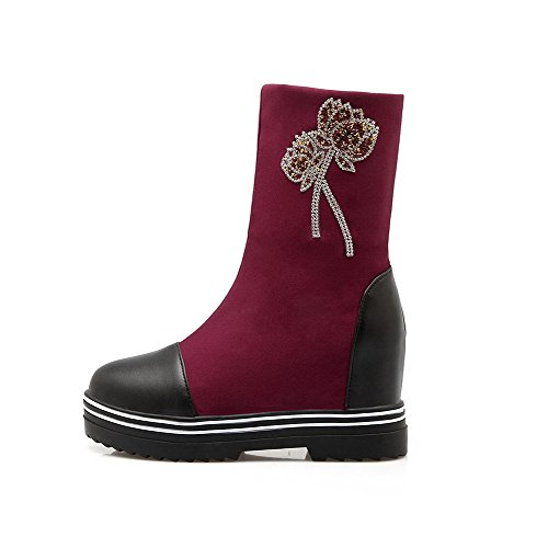 AllhqFashion Damen Blend-Materialien Mitte-Spitze Rein Ziehen auf Hoher Absatz Stiefel, Rot, 35