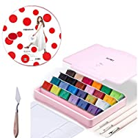 AOOK MIYA Gouache Paint Set, 24 Colors x 30ml Unique Jelly Cup Design, Portable Case with Palette for Artists, Students, Gouache Watercolor Painting (29P PINK)