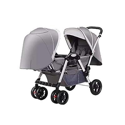 Cochecitos de bebé gemelos para niños y niñas con respaldo ajustable Cochecito de bebé cara a cara con carrito plegable