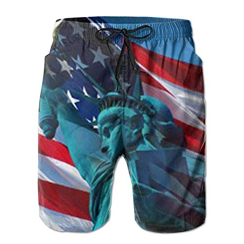 HOOTDYA American Flag Day Statue of Liberty Blue Camouflage Men's Quick Dry Beach Board Shorts Swim for Father's Day Boy XL -
