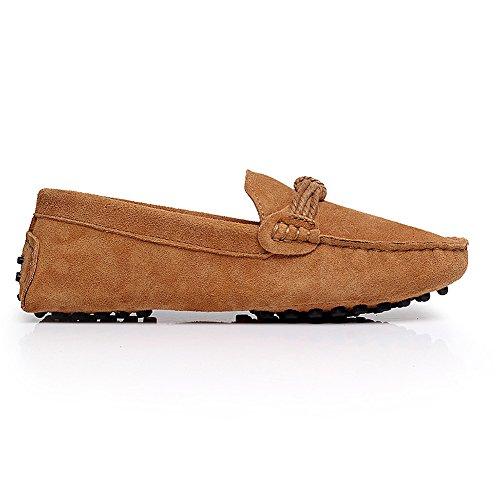 Shenn Femmes Bureau&Carrière Décontractée Glisser Sur Confort Cuir Flâneur Chaussures 24309 Bronzer