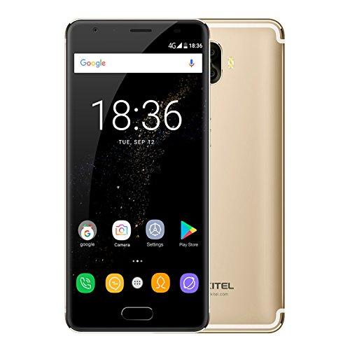 Smartphone Ohne Vertrag, OUKITEL K8000 mit 8000mAh Langlebige Akku Benachrichtigung LED 2018 4G Handy 5,5 Zoll AMOLED Display Android 7.0 MT6750T Octa Core 1.5GHz 4GB RAM+64GB ROM Dual SIM 16MP+2MP+13MP Kameras OTG Fingerprintsensor(Golden) (13.0 Lcd-display)